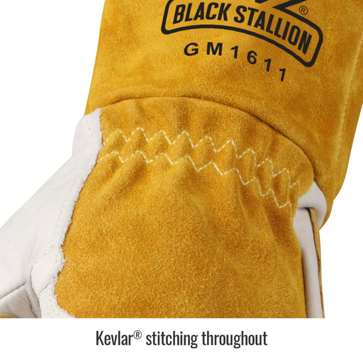 Black Stallion Cowhide MIG Glove w/ Reinforced Palm & Thumb - GM1611-WT