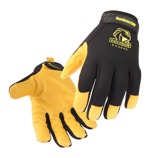 Black Stallion ToolHandz Core Pig Grain Leather Palm Mechanics Gloves- GX4040-BY