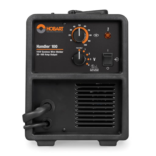 Hobart Handler 100 Flux-Cored shown from the front with control knobs