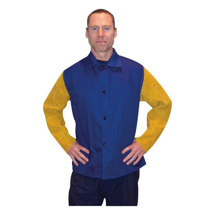 "Tillman 30"" Blue Welding Jacket with Leather Sleeves, 2X - 92302X"
