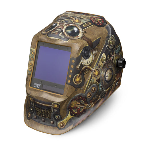 Viking 3350 4C Welding Helmet Steampunk from an angle K3428-4