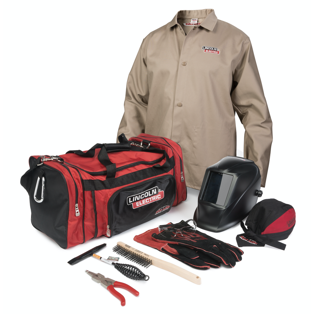 Red Line Duffle Bag with Welding Jacket, Helmet, Doo Rag, MIG Stick Gloves, Safety Glasses, Wire Brush, Chipping Hammer, and Weldng Pliers