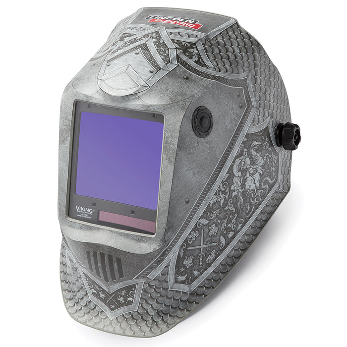 Viking 3350 4C Welding Helmet Medieval from an angle K4671-4