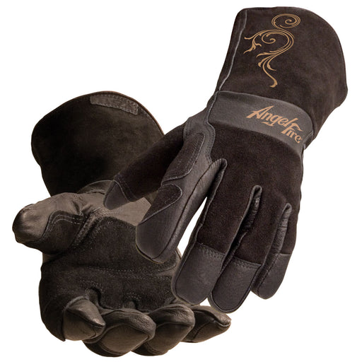 BSX AngelFire Women's Stick/MIG Welding Gloves Black w Flourish - LS50