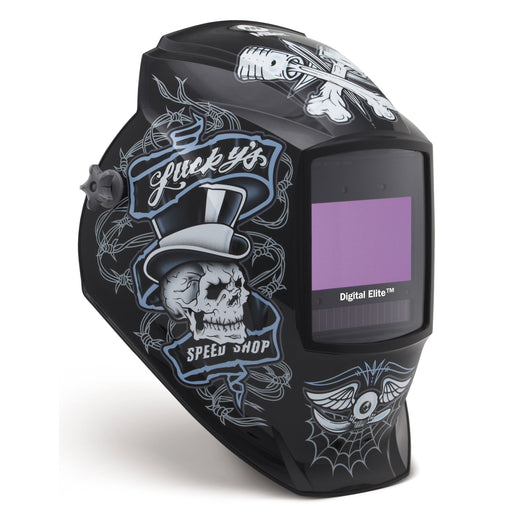 Miller Digital Elite Lucky's Speed Shop Welding Helmet from the side 281001