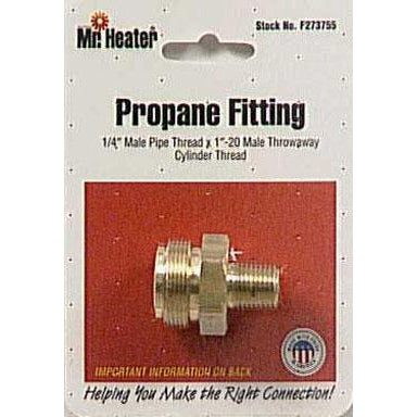 "Mr Heater - LP Male Throwaway Cylinder Adapter - 1/4"" MPT X  1"" MTCT - F273755"