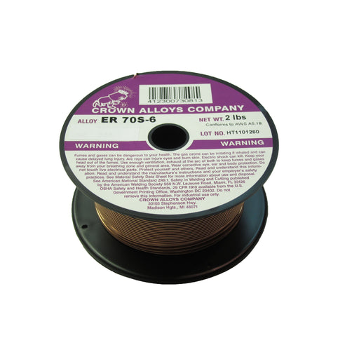 Crown Alloys ER 70S-6 - .023x2# MIG Welding Wire 2lb Spool - MS70S6/1D