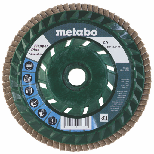 "Metabo Flapper Plus Trimmable, Type 29, Arbor 5/8-11"", 5/pk"
