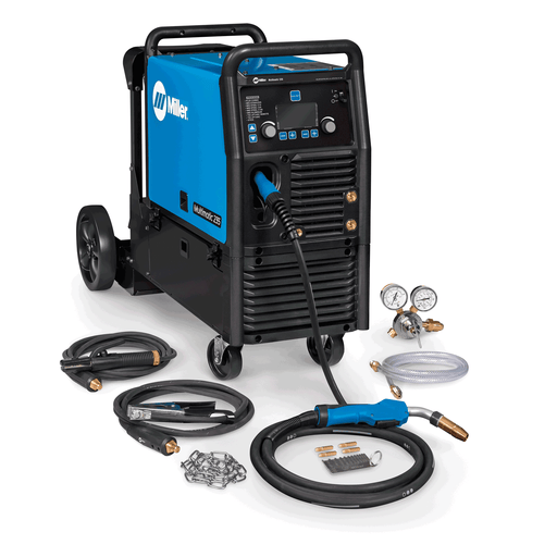 Miller Multimatic 235 951846 with EZ-Latch cart includes everything you need to MIG and stick weld. Remove machine from cart with no tools.
