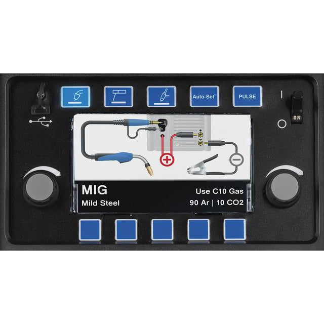 Miller Multimatic 255 Multiprocess Welder - 907728 Control knobs and LED screen