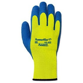 Ansell PowerFlex T Hi-Viz Yellow Cold Resistant Gloves, 12/pk - 80-400