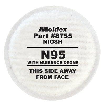 Moldex N95 Particulate Filters Plus Nuisance Ozone/OV, 2/pk - 8755