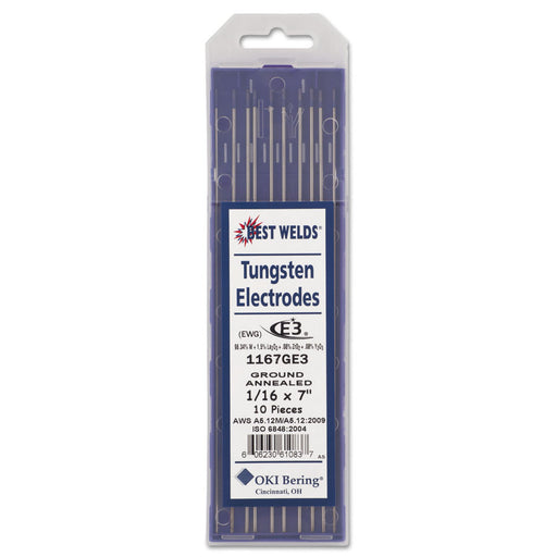 "Best Welds E3 Tungsten Electrodes - 1/16"" - 1167GE3"