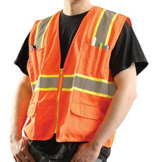 OccuNomix ANSI Class 2 2-Tone High Vis Surveyor Safety Vest Orange LG - LUX-ATRANS-OL