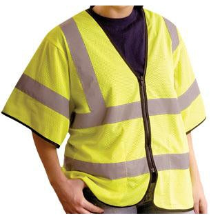 OccuNomix - ANSI Class 3 Economy Short Sleeve Mesh High Visibility Safety Vest - Yellow - 561-LUX-HSGCZ