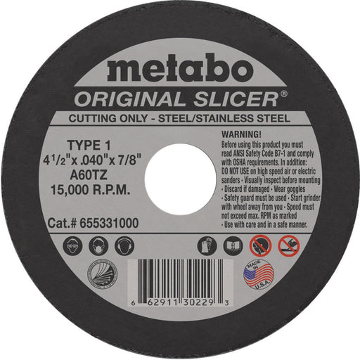 Metabo Type 1 ORIGINAL Cutting Wheels 4-1/2x.040x7/8 10/bx - 655331000