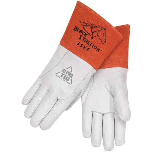 Black Stallion Alpha TIG Welding Gloves Premium Kidskin Long Cuff - 35KF