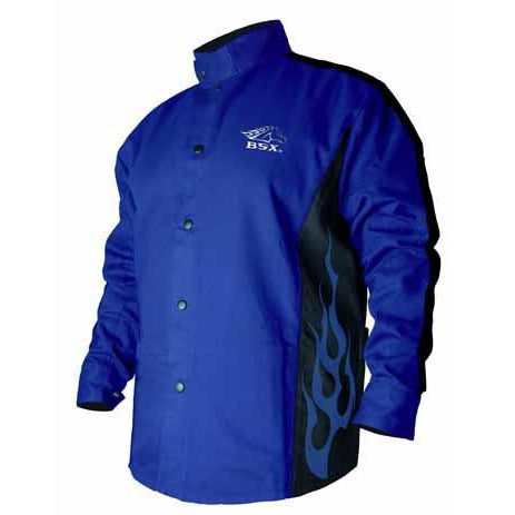 Black Stallion FR Welding Jacket, Blue w/Blue Flames - BXRB9C