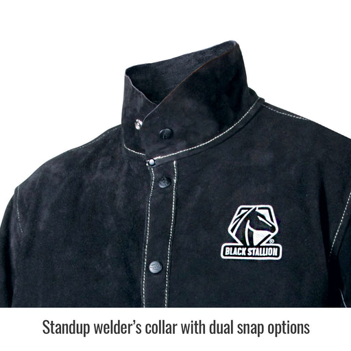 Black Stallion Color Block Leather Welding Jacket - JL1030-BB