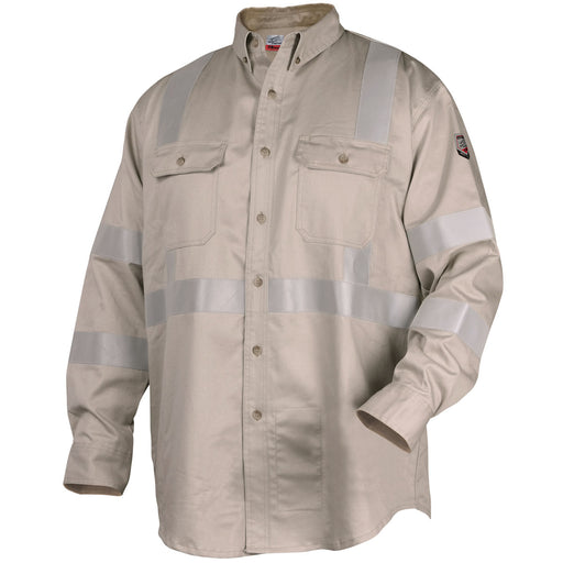 Black Stallion TruGuard 300 FR Reflective Work Shirt, Stone - WF2112-ST