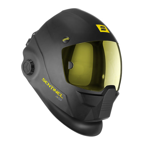 ESAB Sentinel welding helmet external grind button and amber lens.