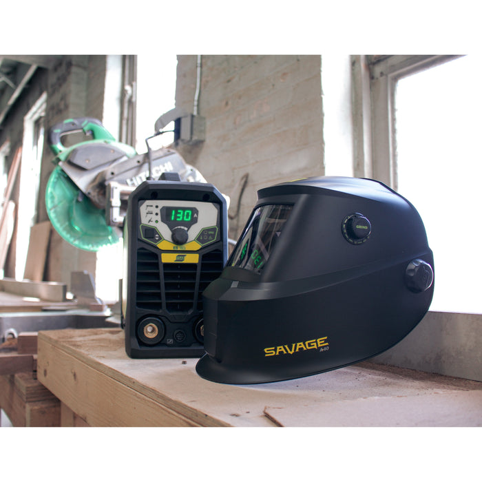 ESAB Savage A40 Helmet with the Miniarc Rogue in a workshop