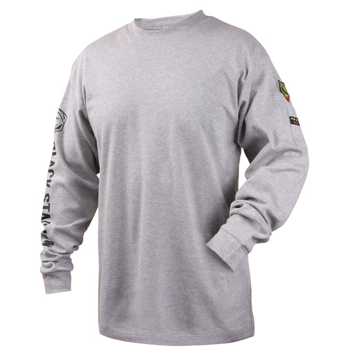 Black Stallion FR Cotton Knit 7 oz Long-Sleeve T-Shirt, Gray - TF2510-GY