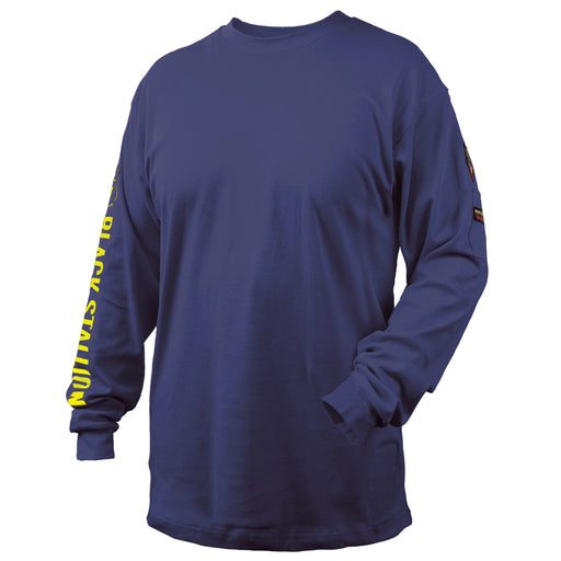 Black Stallion FR Cotton Knit 7 oz Long-Sleeve T-Shirt, Navy - TF2510-NV