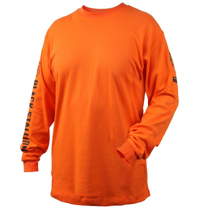 Black Stallion FR Cotton Knit 7 oz Long-Sleeve T-Shirt, Safety Orange - TF2510-OR