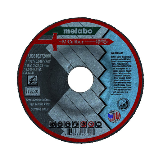 "Metabo M-Calibur Ceramic Cutting Wheels, 4.5"" x 7/8"", 25/pk"