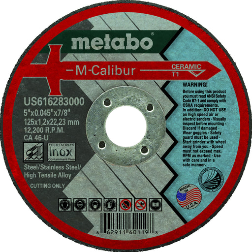 "Metabo M-Calibur Ceramic Cutting Wheels, 5"" x 7/8"", 25/pk"