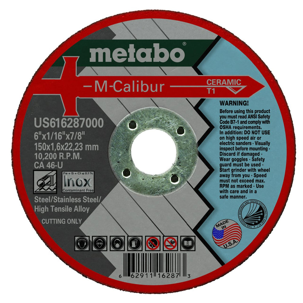 "Metabo M-Calibur Ceramic Cutting Wheels, 6"" x 7/8"", 25/pk"