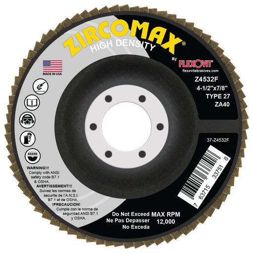 Flexovit Zircotex ZA40 Type 27 Grinding Wheel - 4.5x7/8, 10/bx - Z4532F