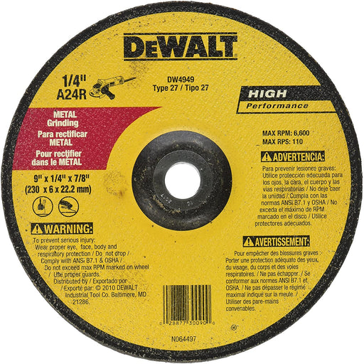 "Dewalt HP Metal Type 27 Grinding Wheels, 9"" x 1/4"" x 7/8"", 10/pk - DW4949"