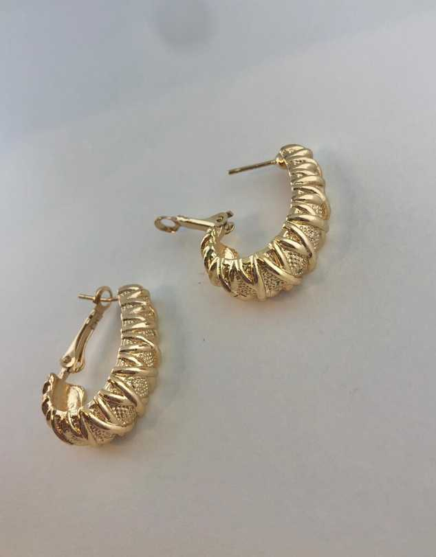 Dominique Textured Hoop Earrings
