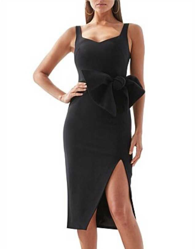 By Johnny - Black Out Bow Midi Dress