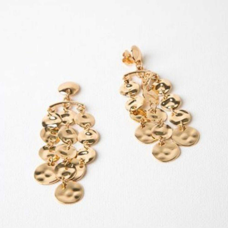 Adorne - Cascade Pitted Discs Stud Earrings