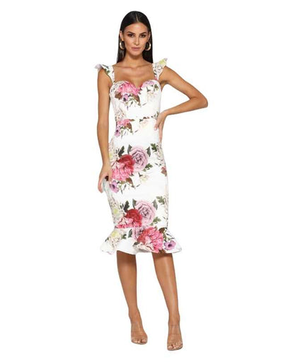 Elle Zeitoune - Laura Pink Floral Midi Dress