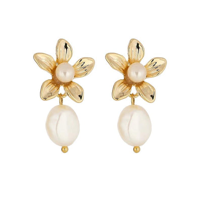JT Luxe - Harlow Pearl 14K Gold Plated Earrings