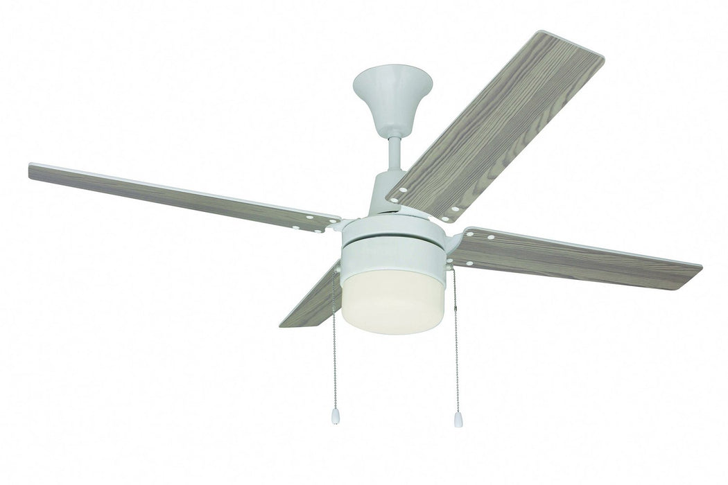 "Craftmade CON48W4C1 48"" Ceiling Fan w/Light kit - Wakefield in White"