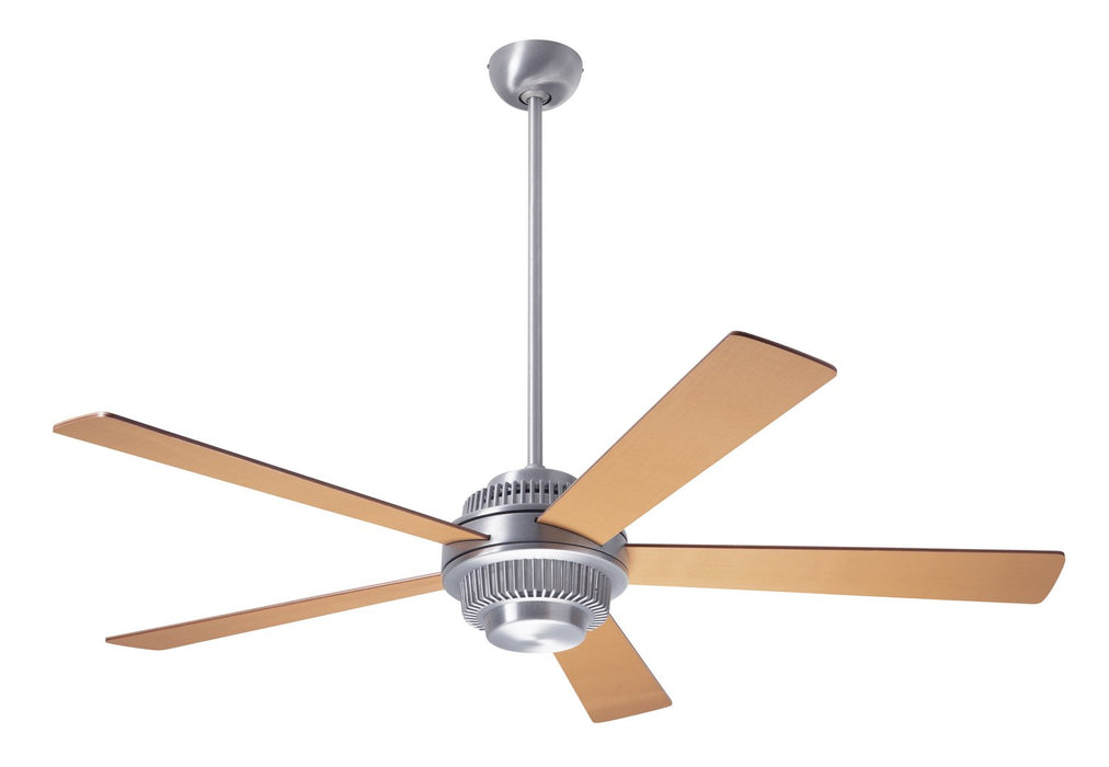 "Modern Fan CoSolus Fan, Brushed Aluminum Finish, 52""  Maple Blades, No Light, Wall Control with Remote Handset (2-wire) 52"" Ceiling Fan from the Solus collection in Brushed Aluminum finish"
