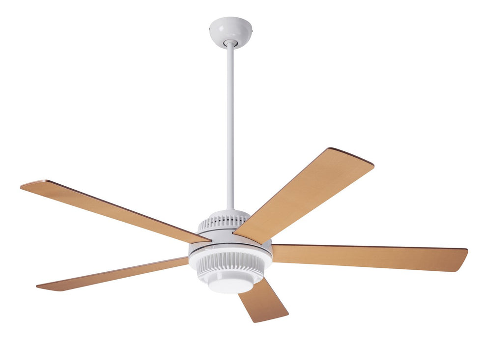 "Modern Fan CoSolus Fan, Gloss White Finish, 52""  Maple Blades, No Light, Wall Control with Remote Handset (2-wire) 52"" Ceiling Fan from the Solus collection in Gloss White finish"