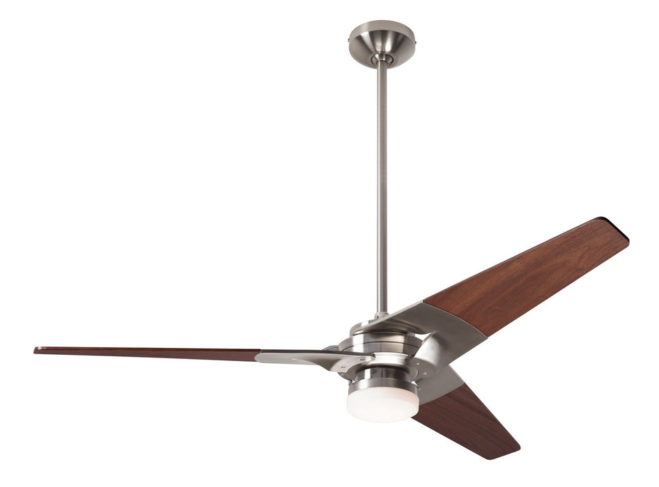 "Modern Fan CoTorsion Fan, Bright Nickel Finish, 52""  Mahogany Blades, 17W LED, Wall Control with Remote Handset (2-wire) 52"" Ceiling Fan from the Torsion collection in Bright Nickel finish"