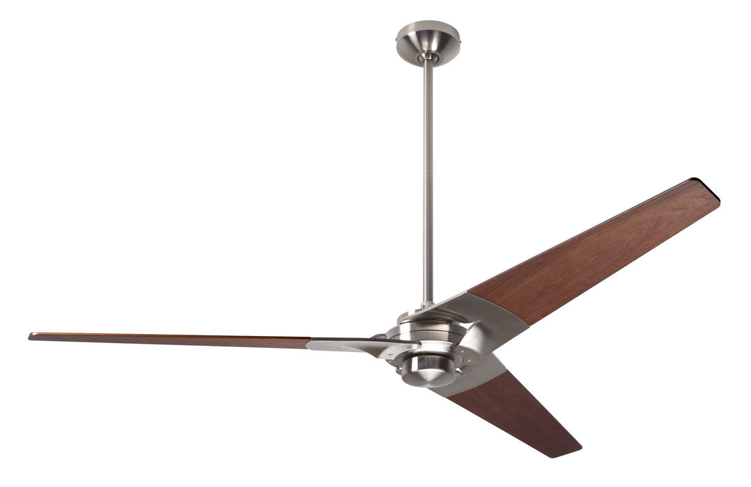 "Modern Fan CoTorsion Fan, Bright Nickel Finish, 62""  Mahogany Blades, No Light, Fan Speed and Light Control (2-wire) 62"" Ceiling Fan from the Torsion collection in Bright Nickel finish"