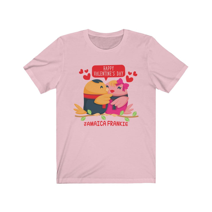 """LOVE BIRDS Happy Valentine's Day"" Frankie.Fashion - Unisex Jersey Awesome Quality Tee"