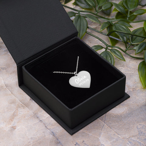 Personalised Engraved Silver Heart Necklace [1 Child's Name & Date of Birth]