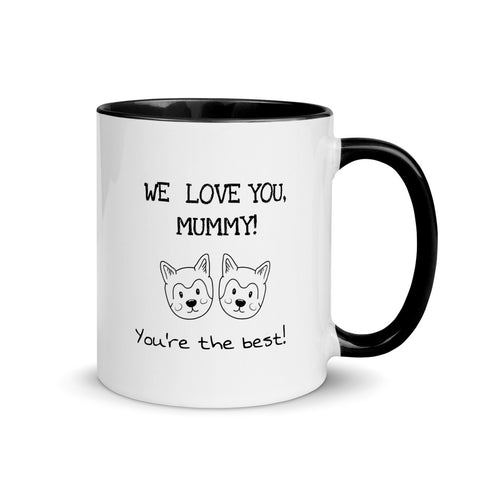 'We love you, mummy! You're the best!' - Twin Dogs Mug