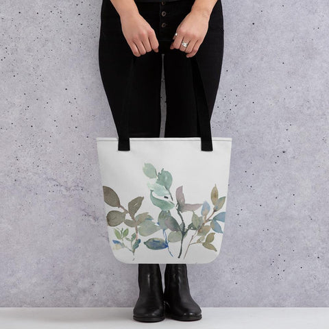 Watercolour Leaf Pattern Tote Bag