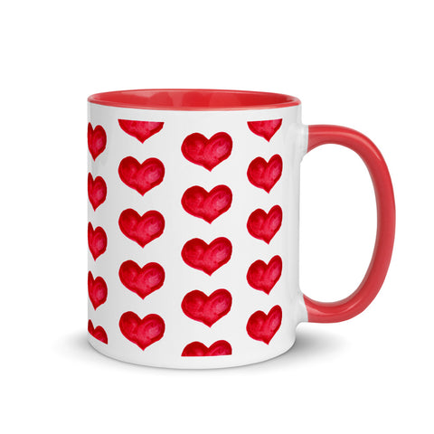 Red Watercolour Hearts Mug with Colour Inside