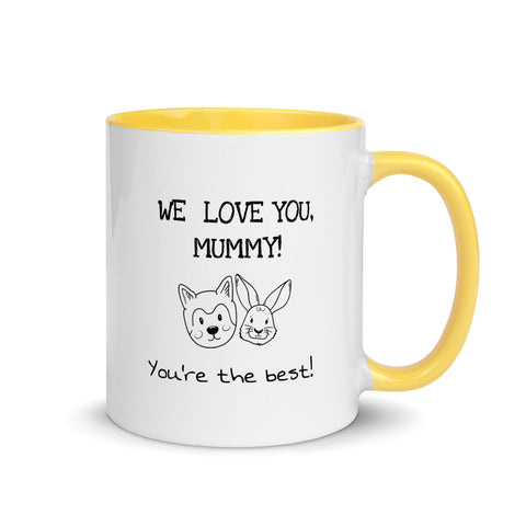 'We love you, mummy! You're the best!' Mug [Yellow, Red, Blue, Black]